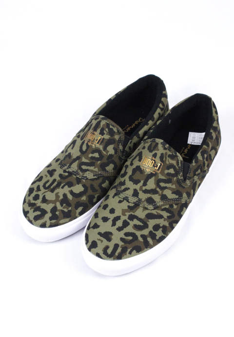 チーター柄スリッポン Boo J Cheetah & White Slip-on Skate Shoes -Green-