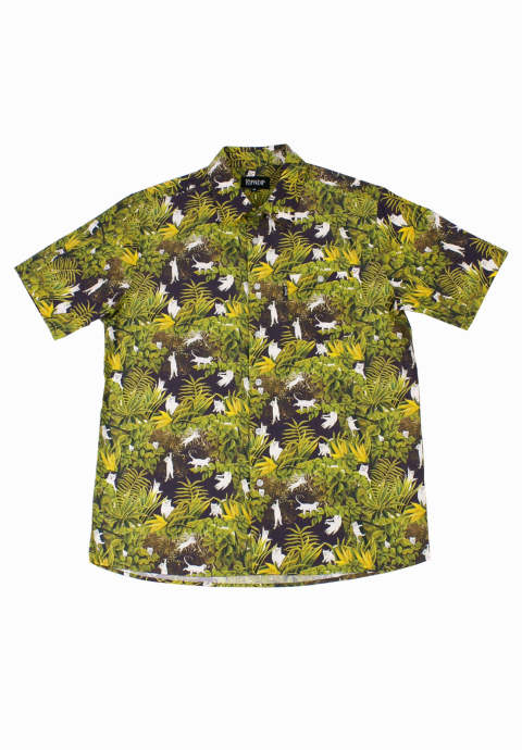 総柄半袖シャツ Nermal Jungle Black Button Up Shirt -Green-