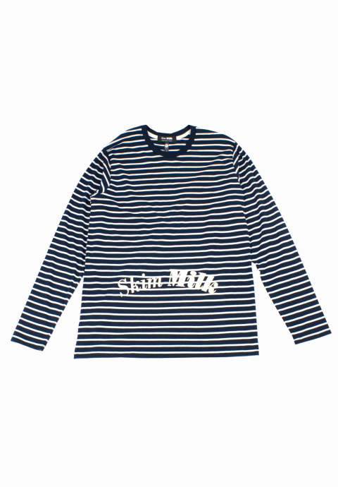 ボーダーL/S Tee Striped Shirt -Navy-