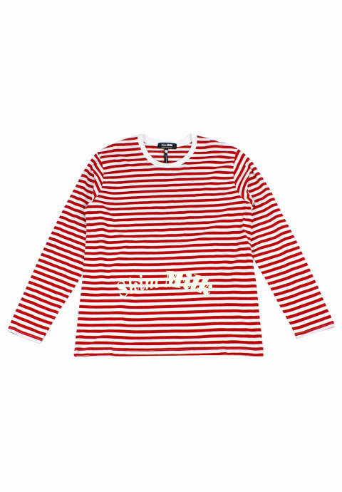 ボーダーL/S Tee Striped Shirt -Red-